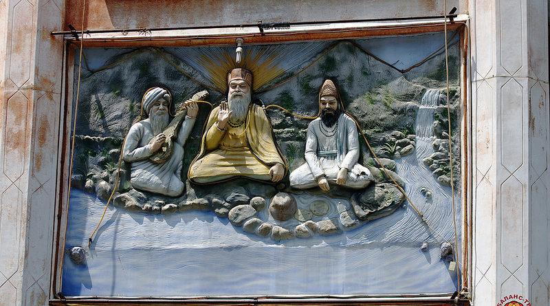 Гравюра с изображением мудрецов. Гималаи