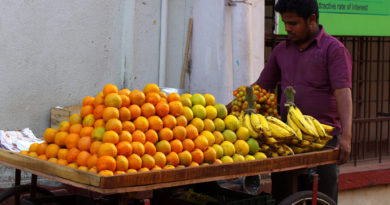 фрукты, бананы, апельсины
